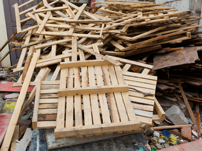 Pile up of pallets and wood materials