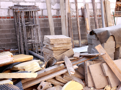 Pile of old materials on a construction site